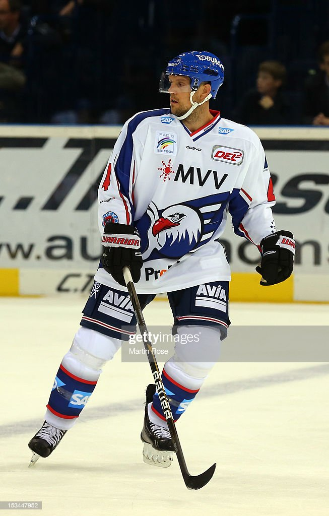 <a gi-track='captionPersonalityLinkClicked' href=/galleries/search?phrase=Dennis+Seidenberg&family=editorial&specificpeople=204616 ng-click='$event.stopPropagation()'>Dennis Seidenberg</a> of Mannheim skates against the Hamburg Freezers during the DEL match between Hamburg Freezers and Adler Mannheim at O2 World on October 5, 2012 in Hamburg, Germany.