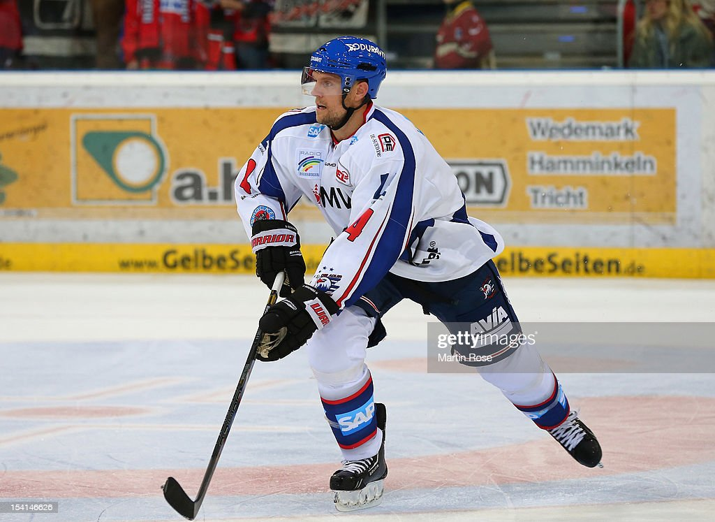 Dennis Seidenberg of Mannheim skates up the ice against the Hannover Scorpions during the DEL match between Hannover Scorpions and Adler Mannheim at TUI Arena on October 14, 2012 in Hanover, Germany.