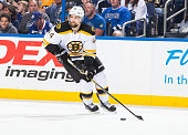 Dennis Seidenberg of the Boston Bruins against the Tampa Bay Lightning at the Amalie Arena on March 22 2015 in Tampa Florida