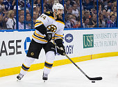 Dennis Seidenberg of the Boston Bruins against the Tampa Bay Lightning at the Amalie Arena on April 11 2015 in Tampa Florida