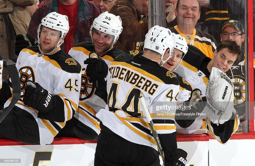 <a gi-track='captionPersonalityLinkClicked' href=/galleries/search?phrase=Dennis+Seidenberg&family=editorial&specificpeople=204616 ng-click='$event.stopPropagation()'>Dennis Seidenberg</a> #44 of the Boston Bruins celebrates his game winning goal late in the third period, during an NHL game against the Ottawa Senators, at Scotiabank Place, on March 21, 2013 in Ottawa, Ontario, Canada.