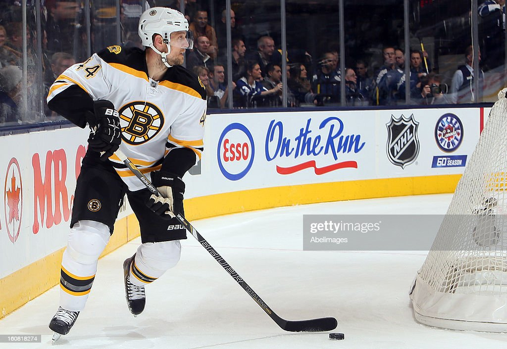 Dennis Seidenberg #44 of the Boston Bruins looks for a pass against the Toronto Maple Leafs during NHL action at the Air Canada Centre February 2, 2013 in Toronto, Ontario, Canada.
