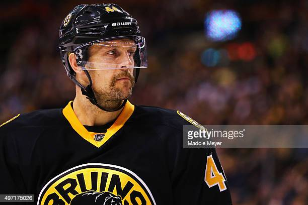 Dennis Seidenberg of the Boston Bruins looks on during the second period against the Detroit Red Wings at TD Garden on November 14 2015 in Boston...