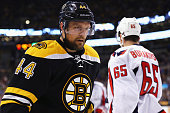 Dennis Seidenberg of the Boston Bruins looks on during the second period against the Washington Capitals at TD Garden on January 5 2016 in Boston...