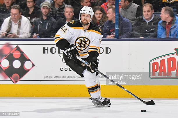 Dennis Seidenberg of the Boston Bruins skates against the Boston Bruins on February 16 2016 at Nationwide Arena in Columbus Ohio