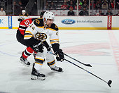 Dennis Seidenberg of the Boston Bruins skates against the New Jersey Devils at the Prudential Center on January 8 2016 in Newark New Jersey The...