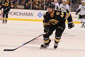 Dennis Seidenberg of the Boston Bruins skates against the Pittsburgh Penguins at the TD Garden on February 24 2016 in Boston Massachusetts