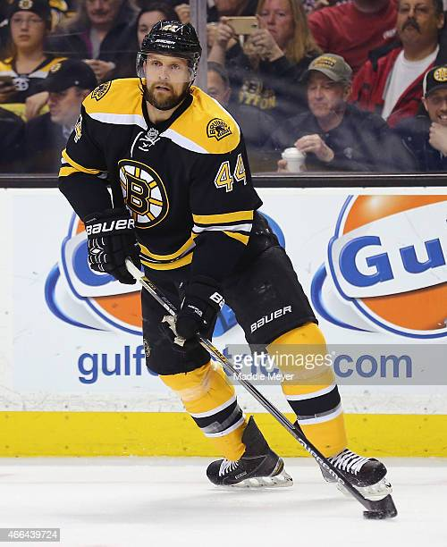 Dennis Seidenberg of the Boston Bruins skates against the Tampa Bay Lightning during the second period at TD Garden on March 12 2015 in Boston...