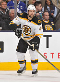 Dennis Seidenberg of the Boston Bruins skates during NHL game action against the Toronto Maple Leafs October 25 2014 at the Air Canada Centre in...