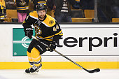 Dennis Seidenberg of the Boston Bruins skates during warm ups against the Washington Capitals at the TD Garden on October 11 2014 in Boston...