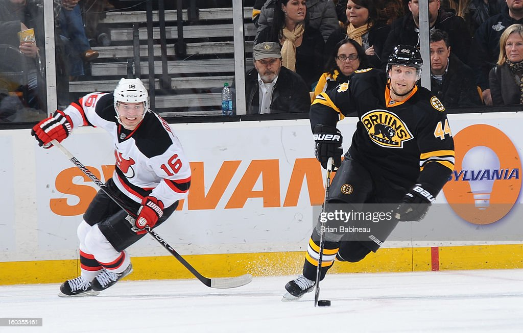 Dennis Seidenberg #44 of the Boston Bruins skates with the puck against the New Jersey Devils at the TD Garden on January 29, 2013 in Boston, Massachusetts.