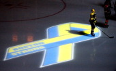 Dennis Seidenberg of the Boston Bruins stands near aa projection of the Boston Marathon Memorial Ribbon seen on the ice during pre game ceremonies in...