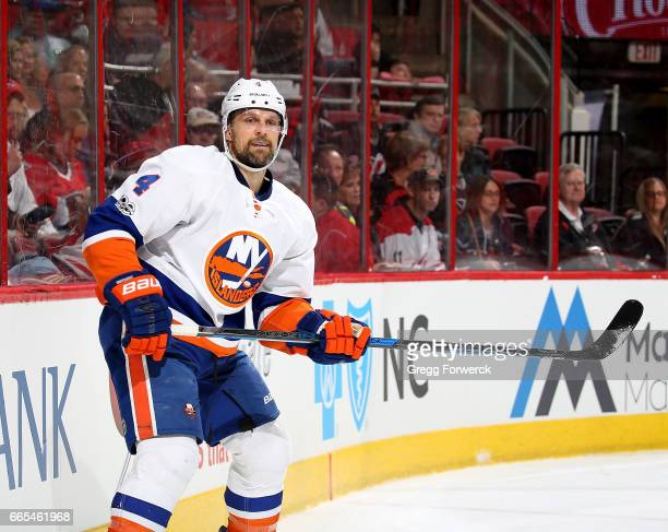 Dennis Seidenberg of the New York Islanders skates for position behind the net during an NHL game against the Carolina Hurricanes on April 6 2017 at...