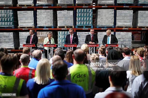 Dennis Shaw of DCS Group Gisela Stuart MP Chairman of the Vote Leave business council John Longworth Michael Gove MP and Boris Johnson MP address...