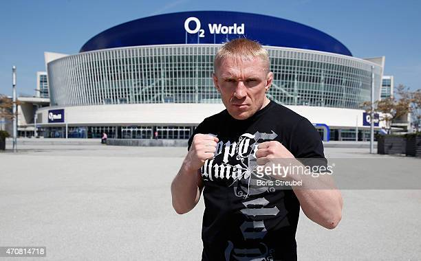 Dennis Siver of Russia poses in front of the arena after the UFC press conference at O2 World on April 23 2015 in Berlin Germany