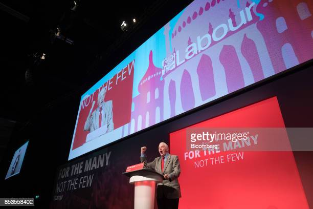 Dennis Skinner a member of parliament for the UK opposition Labour party speaks at the Labour Party Annual Conference in Brighton UK on Monday Sept...