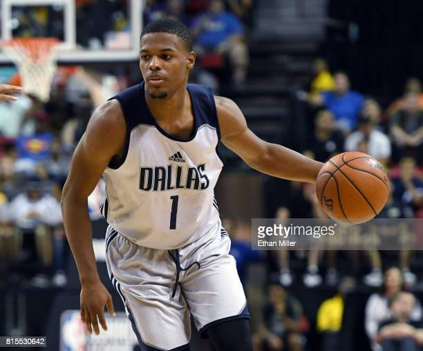 Dennis Smith Jr #1 of the Dallas Mavericks brings the ball up the court against the Boston Celtics during the 2017 Summer League at the Thomas Mack...