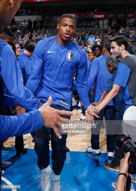 Dennis Smith Jr #1 of the Dallas Mavericks gets introduced before the preseason game against the Milwaukee Bucks on October 2 2017 at the American...