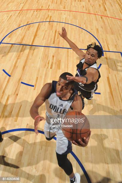 Dennis Smith Jr #1 of the Dallas Mavericks goes to the basket against the Sacramento Kings on July 13 2017 at the Thomas Mack Center in Las Vegas...
