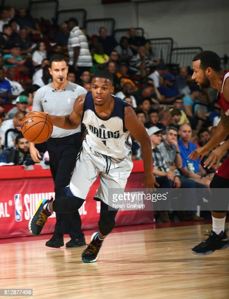 Dennis Smith Jr #1 of the Dallas Mavericks handles the ball against the Miami Heat during the 2017 Summer League on July 11 2017 at Cox Pavillion in...