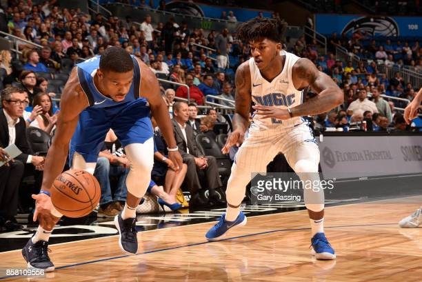 Dennis Smith Jr #1 of the Dallas Mavericks handles the ball against the Orlando Magic during a preseason game on October 5 2017 at Amway Center in...