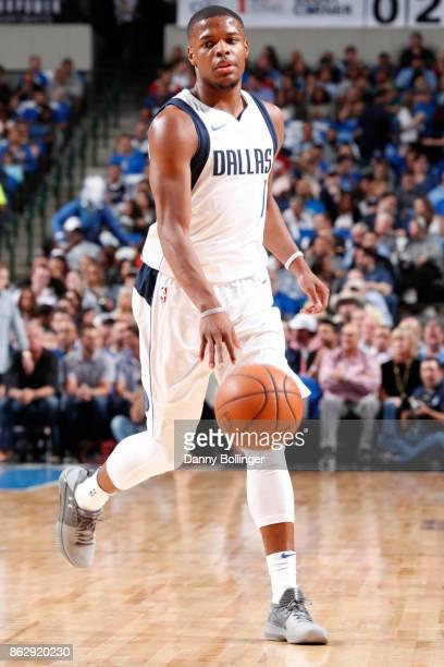 Dennis Smith Jr #1 of the Dallas Mavericks handles the ball during a 201718 regular season game against the Atlanta Hawks on October 18 2017 at the...