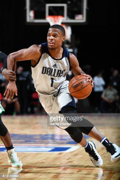 Dennis Smith Jr #1 of the Dallas Mavericks handles the ball during the game against the Boston Celtics during the Quarterfinals of the 2017 Las Vegas...