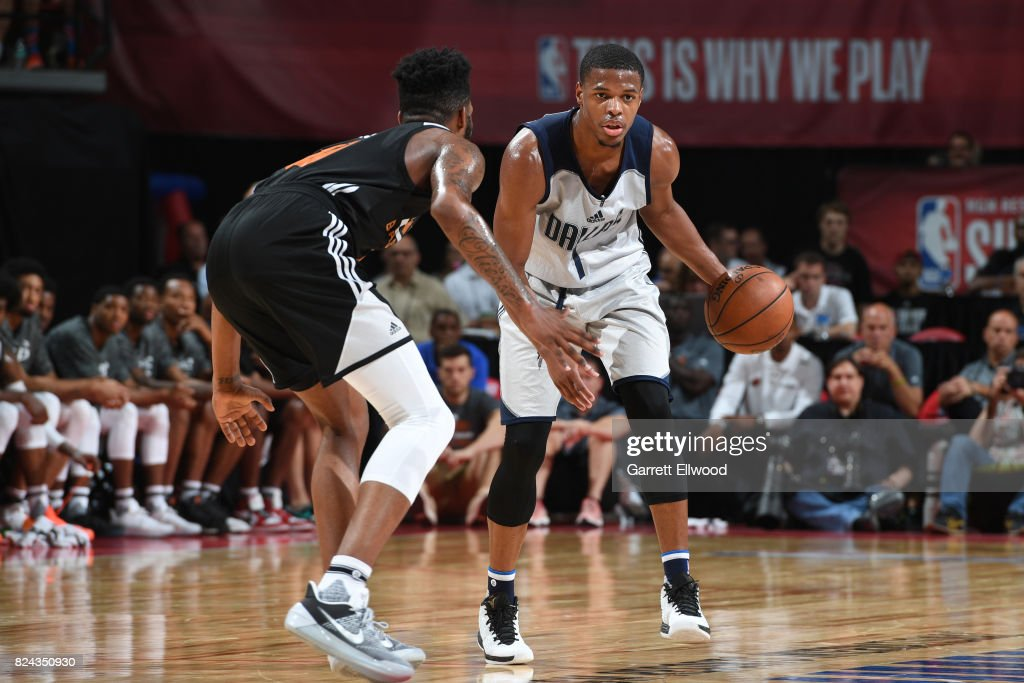 Dennis Smith Jr. #1 of the Dallas Mavericks handles the ball during the game against Derrick Jones Jr. #10 of the Phoenix Suns during the 2017 Summer League on July 9, 2017 at the Thomas & Mack Center in Las Vegas, Nevada.