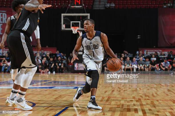 Dennis Smith Jr #1 of the Dallas Mavericks handles the ball during the game against the Phoenix Suns during the 2017 Summer League on July 9 2017 at...