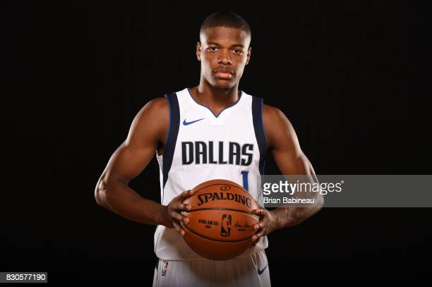 Dennis Smith Jr #1 of the Dallas Mavericks poses for a portrait during the 2017 NBA Rookie Photo Shoot at MSG training center on August 11 2017 in...