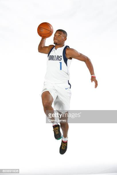 Dennis Smith Jr #1 of the Dallas Mavericks poses for a portrait during the Dallas Mavericks Media Day on September 25 2017 at the American Airlines...