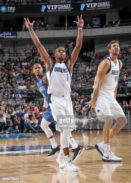 Dennis Smith Jr #1 of the Dallas Mavericks reacts during a preseason game against the Orlando Magic on October 9 2017 at the American Airlines Center...