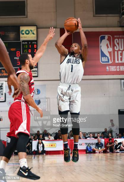 Dennis Smith Jr #1 of the Dallas Mavericks shoots the ball against the Miami Heat during the 2017 Summer League on July 11 2017 at Cox Pavillion in...