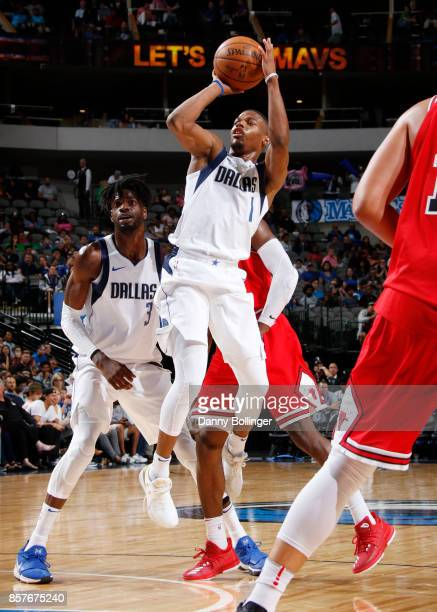 Dennis Smith Jr #1 of the Dallas Mavericks shoots the ball against the Chicago Bulls during the preseason game on October 4 2017 at the American...