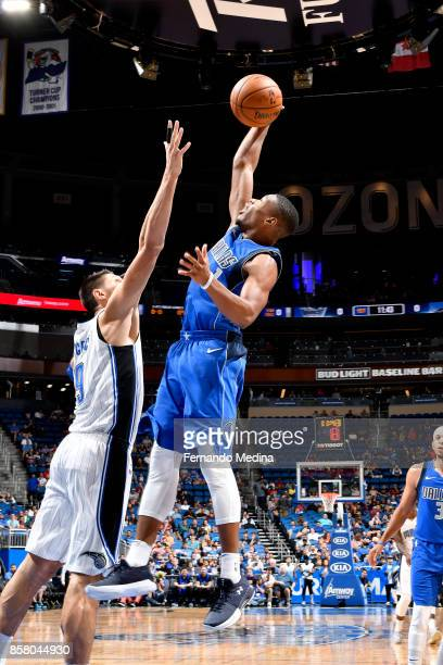 Dennis Smith Jr #1 of the Dallas Mavericks shoots the ball against the Orlando Magic during a preseason game on October 5 2017 at Amway Center in...