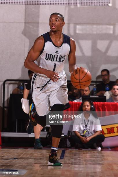 Dennis Smith Jr of the Dallas Mavericks dribbles the ball during the 2017 Las Vegas Summer League game against the Miami Heat on July 11 2017 at Cox...