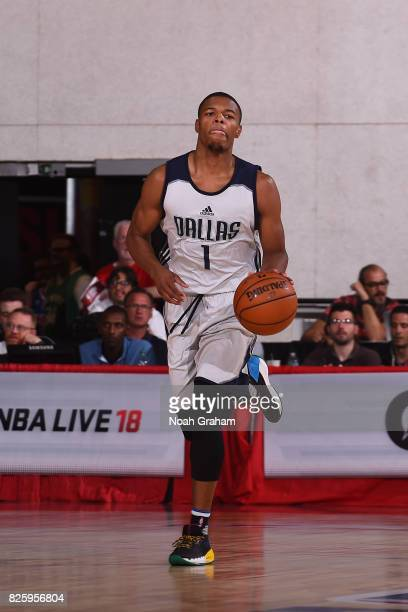 Dennis Smith Jr of the Dallas Mavericks dribbles the ball up the court during the 2017 Las Vegas Summer League game against the Miami Heat on July 11...