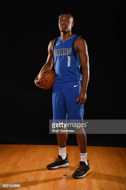 Dennis Smith Jr of the Dallas Mavericks poses for a photo during the 2017 NBA Rookie Photo Shoot at MSG training center on August 11 2017 in...