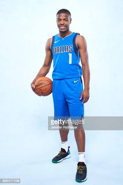 Dennis Smith Jr of the Dallas Mavericks poses for a photo during the 2017 NBA Rookie Shoot on August 11 2017 at the Madison Square Garden Training...