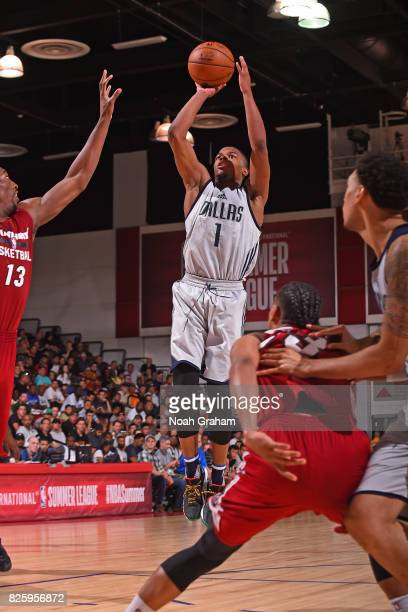 Dennis Smith Jr of the Dallas Mavericks shoots the ball during the 2017 Las Vegas Summer League game against the Miami Heat on July 11 2017 at Cox...