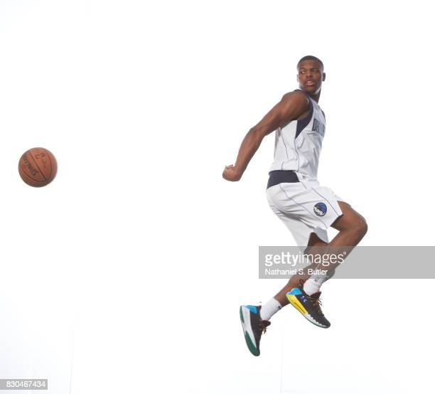 Dennis Smith of the Dallas Mavericks poses for a photo during the 2017 NBA Rookie Shoot on August 11 2017 at the Madison Square Garden Training...