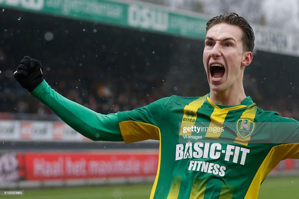 Dennis van der Heijden of ADO Den Haag during the Dutch Eredivisie match between Excelsior Rotterdam and ADO Den Haag at Woudenstein stadium on February 14, 2016 in Rotterdam, The Netherlands