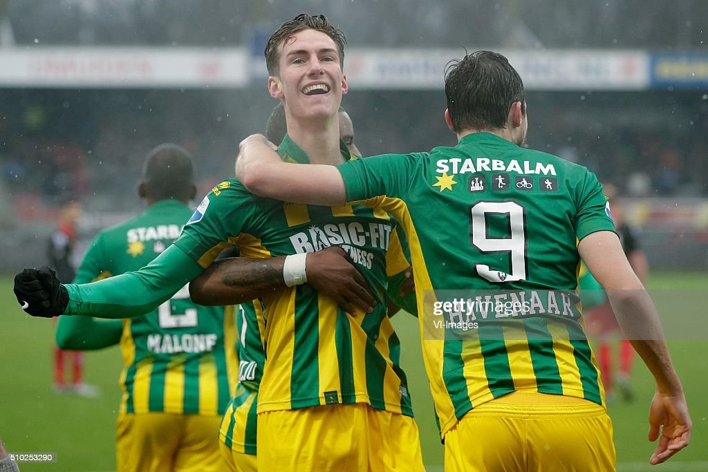 Dennis van der Heijden of ADO Den Haag, Mike Havenaar of ADO Den Haag during the Dutch Eredivisie match between Excelsior Rotterdam and ADO Den Haag at Woudenstein stadium on February 14, 2016 in Rotterdam, The Netherlands