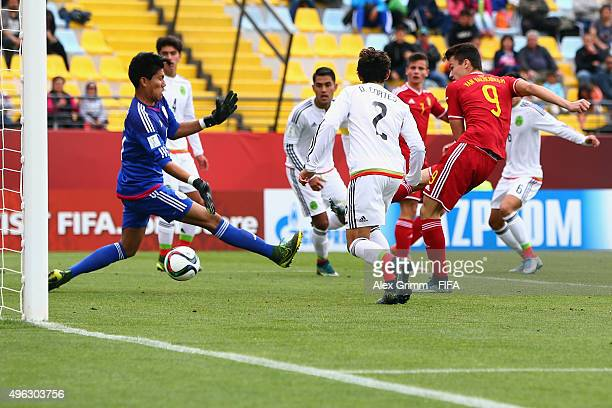 Dennis van Vaerenbergh of Belgium scores his team's first goal against goalkeeper Abraham Romero of Mexico during the FIFA U17 World Cup Chile 2015...
