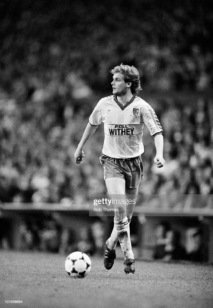 Dennis Van Wijk of Norwich City during the Liverpool v Norwich City Screen Sport Cup Semi-Final match played at Anfield, Liverpool on the 5th May 1986.