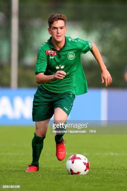 Dennis Vanin of St Gallen runs with the ball duirng the 1st round match between RSC Anderlech and St Gallen on day one of the Blue Stars/FIFA Youth...
