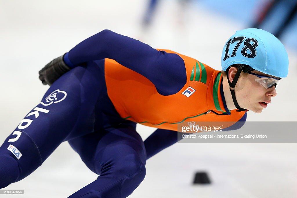 Dennis Visser of Netherlands skates during the men 5000m relay final A during Day 3 of ISU Short Track World Cup at Sportboulevard on February 14, 2016 in Dordrecht, Netherlands.