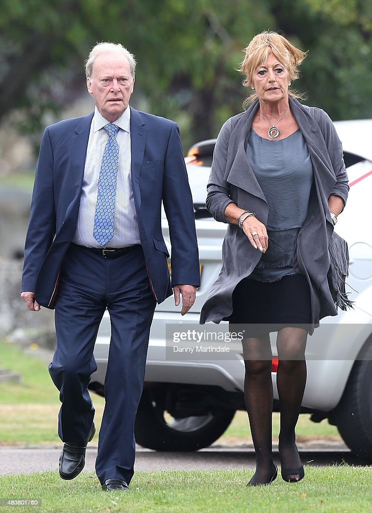 <a gi-track='captionPersonalityLinkClicked' href=/galleries/search?phrase=Dennis+Waterman&family=editorial&specificpeople=223870 ng-click='$event.stopPropagation()'>Dennis Waterman</a> and wife Pam Flint attends the funeral of George Cole at Reading Crematorium on August 13, 2015 in Reading, England.