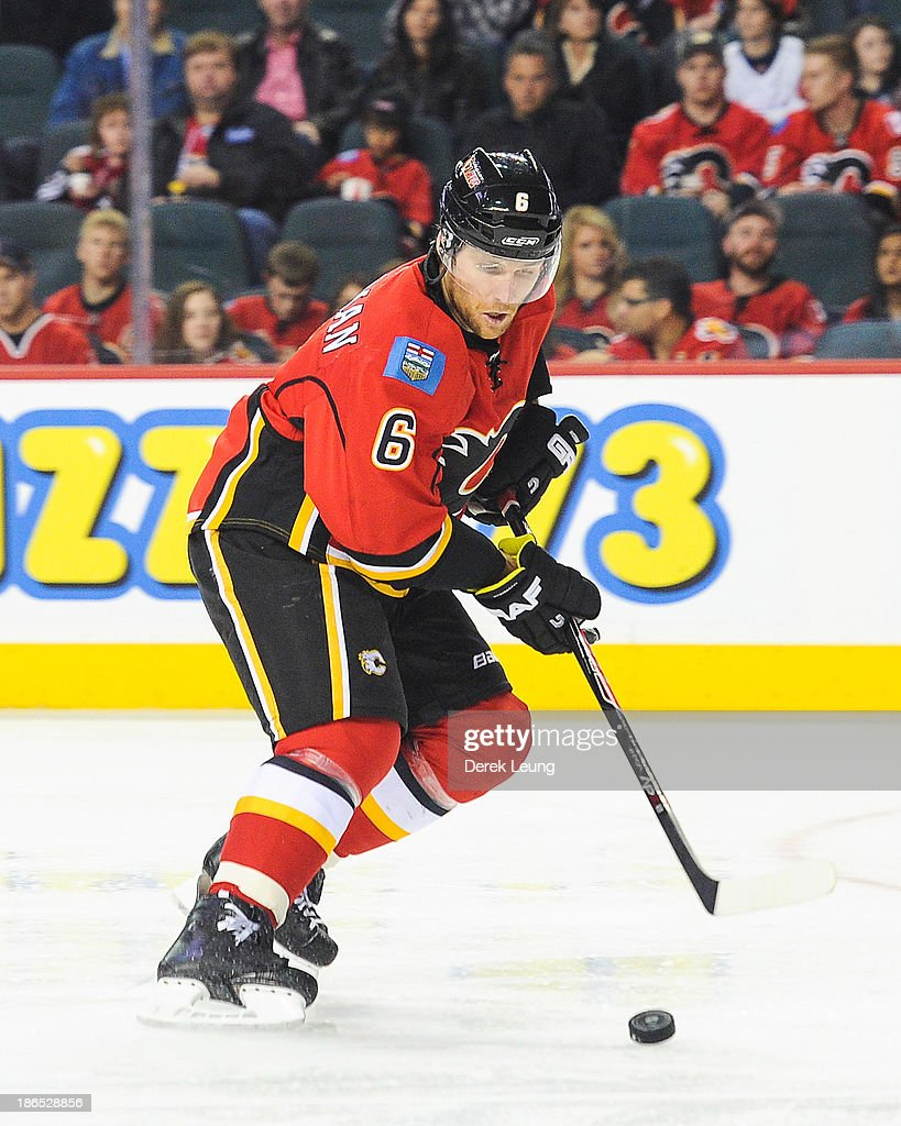 Dennis Wideman #6 of the Calgary Flames skates against the Washington Capitals during an NHL game at Scotiabank Saddledome on October 26, 2013 in Calgary, Alberta, Canada.