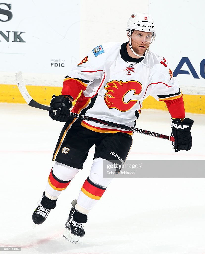 Dennis Wideman #6 of the Calgary Flames skates during the game against the Anaheim Ducks on October 16, 2013 at Honda Center in Anaheim, California.